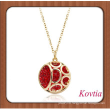 NEW arrival fully pave red crystal dubai gold jewelry necklace red coral jewelry