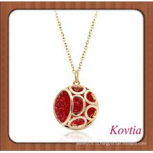 Новое прибытие полностью проложить красный кристалл Дубаи золотые ювелирные изделия ожерелье красные коралловые украшения