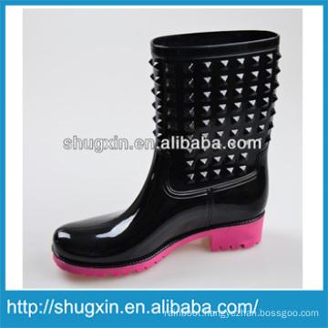 Shugxin Black Household Women's High PVC Rain Boots Low Heel B-819