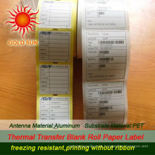 Etiquetas térmicas pre-printed térmicas baratas de 2013, rolo de papel de etiqueta
