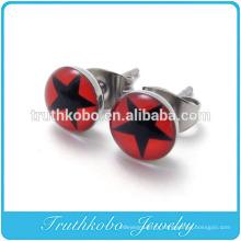 TKB-E0065 2014 acier inoxydable brillant étoile rouge cercle paire de boucles d'oreilles femmes nouveau design gros époxy étoiles ensemble de bijoux