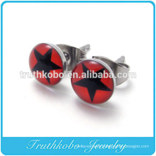 TKB-E0065 2014 Stainless Steel Shining Star Red Circle Pair Stud Earrings Womens New Design Wholesale Epoxy Star Jewelry Set