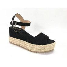 Womens Espadrille Platform Sandals With Microfiber Wedge