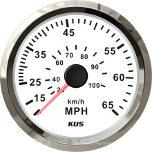 Speedometer Gauges 85mm Speedometer 0-65mph White Faceplate 316 Stainless Steel Bezel for The Boat Yacht Marine