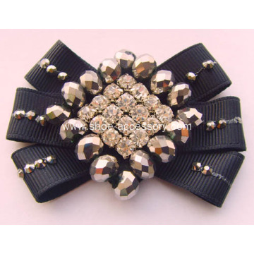 Handmade Bead Bows Flower with Rhinestone for Women Shoe Decoration