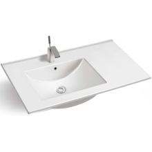 Rectangular thin edge ceramic counter top bathroom vanity basin