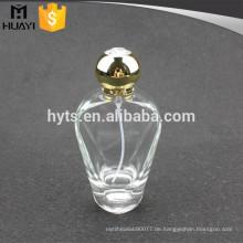 Glas-Parfümflasche 100 ml mit goldener Kappe