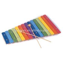 Crianças educacionais arco-íris Mão Knock Instrumento musical brinquedo de madeira 15 Notas xilofone Brinquedos