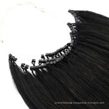 Wholesale 18 Inch Black Color No Tip Hair with Micro Ring Human Hair Virgin Hair Remy Hair Extension Raw Hair