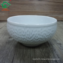White Embossed Big volume Porcelain Ceramic Salad Bowl