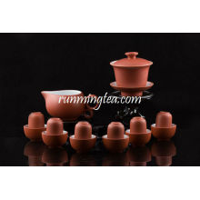 Zisha Red Gongfu Brewing Teeware Set, 1 Gaiwan, 1 Pitcher, 6 Sniffing & Drink Cups