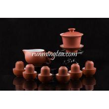 Zisha Red Gongfu Brewing Teaware Set, 1 Gaiwan, 1 Pitcher, 6 Sniffing & Drinking Cups