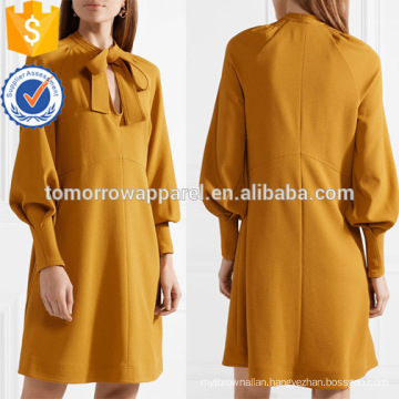New Fashion Pussy-Bow Long Sleeve Mustard Summer Daily Mini Dress Manufacture Wholesale Fashion Women Apparel (TA0003D)
