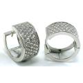 Buena calidad joyería 3A blanco CZ 925 pendiente de plata (E6490)