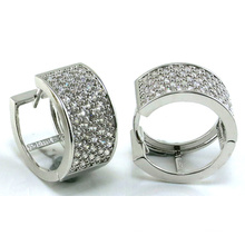 Good Quality Jewelry 3A White CZ 925 Silver Earring (E6490)