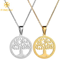 High Quality PVD Gold Plated Stainless Steel Round Brand Hollow Wishing Tree Pendant