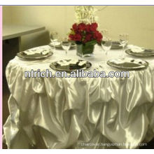 Ornate satin ruffled wedding table cloth