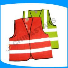 De poliéster de punto de cinta reflectante fluo naranja chaleco de seguridad