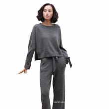 Camisola de caxemira pura com fendas laterais e cinto de manga + calças de pernas de lazer com cinto de malha de malha feminina