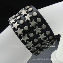 Bracelet en cuir noir pour hommes anciens Bracelet en cuir Bijoux artisanaux BGL-019