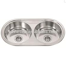 O aço inoxidável SUS 304 Topmounted o dissipador redondo do canto da cozinha com bacia dobro, único dissipador redondo com drainboard