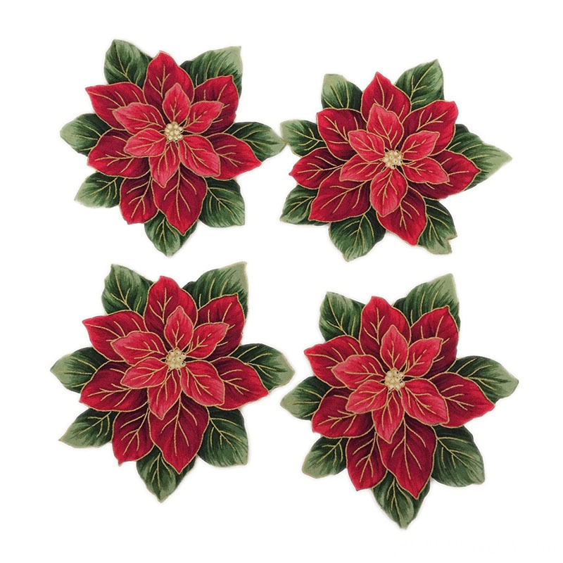 Poinsettia Flower Design Iron On Embroidered Applique Patch