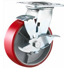 Freno lateral Heavy Duty PU en rueda de hierro