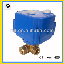 """3-way L-flow 1/4"""" Brass DC9-24V electric mini valve with signal feedback function"""