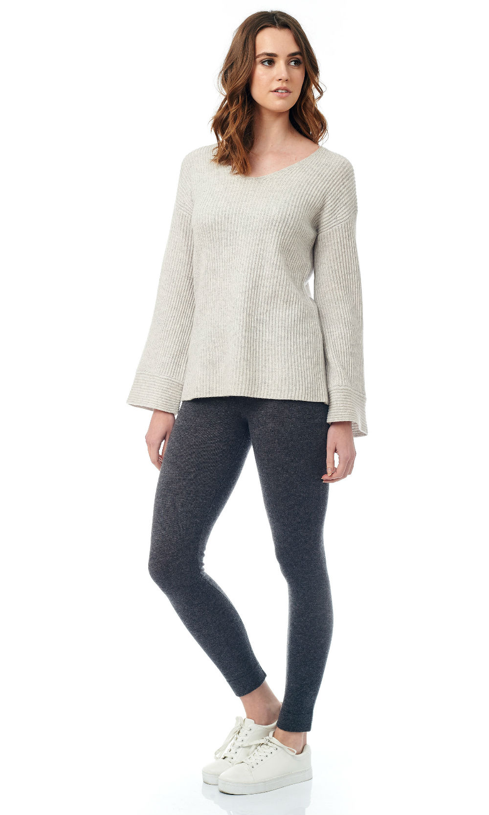 V neck bell sleeve sweater (1)