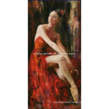 Romantic Girl with Red Dress Oil Painting