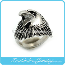 Site alibaba aço inoxidável esmalte preto animal anel de águia para homens jóias made in china
