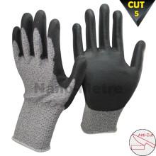 NMSAFETY 13 calibre corte nivel 5 cuchillo resistente al corte guantes recubiertos pu corte prevenir guante