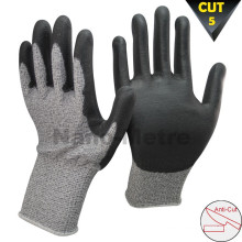 NMSAFETY 13 gauge cut level 5 knife cut resistant gloves coated pu cut prevent glove