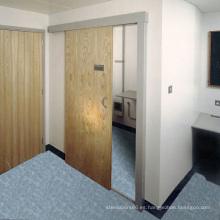 Puertas enchapadas de madera maciza con panel de MDF, puerta corrediza ampliamente utilizada para el dormitorio y el baño