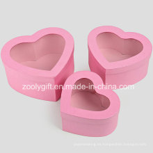 Calidad Hearted forma metálica caja de regalo de papel rosa con ventana transparente