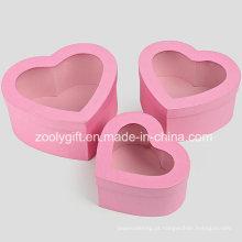 Qualidade hearted forma metálica caixa de presente de papel rosa com janela clara