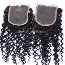 curly virgin brazilian hair cheap full lace closure natural black 4X4