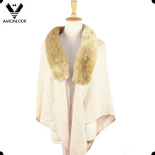 Stylish Acrylic Elegant Shawl for Women with Fur Collar