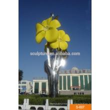 Stylo à fleurs en acier inoxydable à grande abstraite pour décoration extérieure