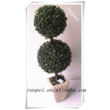 Китай высокое качество декоративные пластиковые двойной трава мяч дерево для продажи