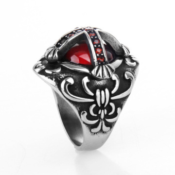 Stainless Steel printing ruby cross cool men ring