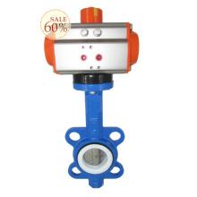 DN100 4 polegadas wafer conexão ar tratamento de água pneumática válvula de borboleta de controle com atuador