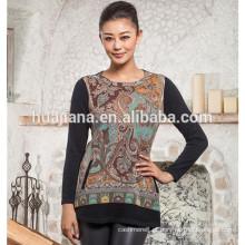 Suéter de impressão de moda feminina 100% cachemira