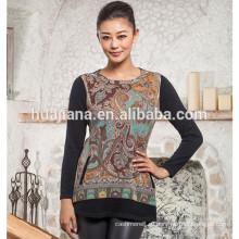 100% кашемир Женская мода печати свитер