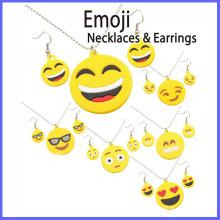 Moda zinco liga emoji colares e brincos conjunto de jóias
