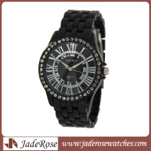 Fashion Black Case and Band with Stones Lady Wrist Watch