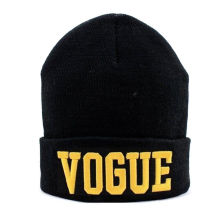 Custom Embroidered Logo Black Beanie Cap