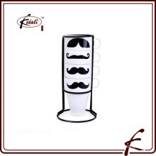 Taza del coffe del té del modelo del decalque del bigote con el sostenedor del hierro