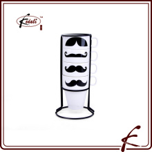 Caneca do coffe do chá do teste padrão do decalque do moustache com suporte do ferro