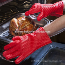 Großhandel Custom Design Küche Kochen Hitzebeständige Durable Silikon BBQ Handschuhe / Silikon Grill Ofen BBQ Handschuh / Ofen Mitt